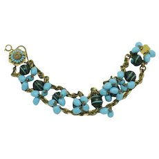 MIRIAM HASKELL Blue Green Glass and Brass Bracelet