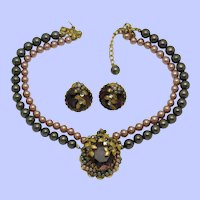 Gorgeous  2 Strand Beaded Choker Necklace and Earrings Haskell Style