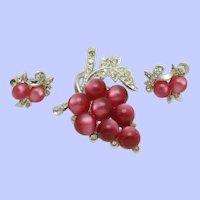 CORO Moonstone Moonglow Grapes Brooch Earrings Vintage Set