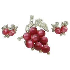 CORO Moonstone Moonglow Grapes Brooch Earrings Vintage Set