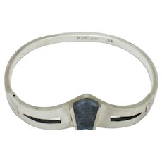 Sterling Silver 925 MEXICO Sodalite Hinged Bracelet
