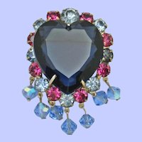 Gorgeous Sapphire Glass Heart Rhinestone Dangling Brooch Pin