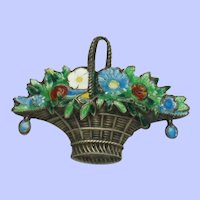 Antique Victorian Flower Basket Brooch Silver Plated Enamel Pin