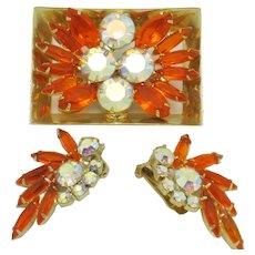 Gorgeous  JULIANA Brooch Earrings Set - Book Piece