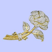 NOLAN MILLER Glamour Collection Rhinestone Rose Brooch In Box
