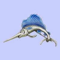 TRUART STERLING Vintage Enamel Figural Swordfish Marlin Brooch