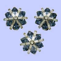Rare TRIFARI Philippe 1949 Brooch and Earrings Set BK PC
