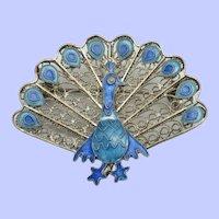Art Deco 925s Sterling Silver Enamel Peacock Brooch