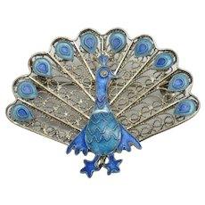 Art Deco 925s Sterling Silver Enamel Peacock Brooch
