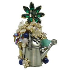 STANLEY HAGLER N.Y.C.  Watering Can Flowers Brooch Pin