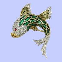 Vintage PANETTA  Rhinestone Enamel Fish Brooch Pin