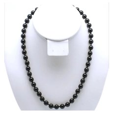 Classic Hand Knotted Glass Bead or Pearl Black Choker Necklace