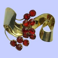CALVAIRE STERLING Gold Wash Red Rhinestone Brooch