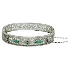 ART DECO Chromium  Emerald Green Rhinestone Filigree Bangle Bracelet