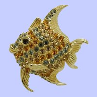 Signed CINER  Rhinestone Angelfish Pin Brooch