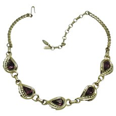 Vintage BARCLAY Amethyst Stone and Rhinestones Choker Necklace