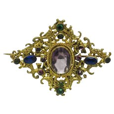 Ornate Antique Victorian Paste Rhinestone Brooch Pin