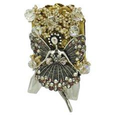 STANLEY HAGLER N.Y.C. Seed Pearl, Crystal, Rhinestone Fairy Brooch