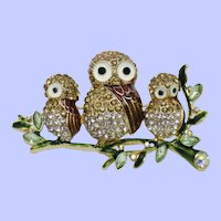 NAPIER  3 Owls on a Branch Enamel Rhinestone Brooch Pin