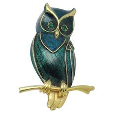 Signed BOUCHER Green Enamel Owl On Branch Brooch