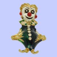 Very Rare  Signed CINER Mardi Gras Clown Pin Brooch