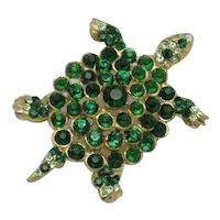 Vintage Rare REINAD Brooch Emerald Rhinestones Figural Turtle Pin
