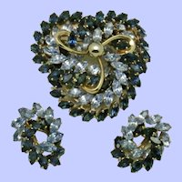 Fabulous NAPIER 1950s Book Piece Brooch and Earring Rhinestone Set
