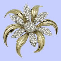 Pristine BOUCHER  Figural Flower  Gold Silver Plated Brooch Pin