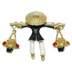 CINER Vintage Inspired  Flower Girl Enamel Gold Plated Brooch Pin