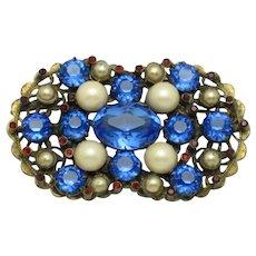 Vintage Bohemian CZECH Brooch Crystal Rhinestone Pearl Pin