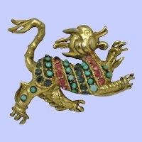 RARE Vintage VENDOME Rhinestone Fantasy Figural Brooch