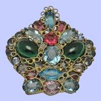 Vintage  Rhinestone Wireworks Figural Crown Brooch Pin