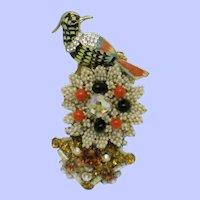 Gorgeous Ornate STANLEY HAGLER N.Y.C. Exotic Bird Brooch Pin
