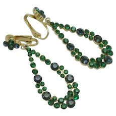 Vintage Signed ART Arthur Pepper Dangle Earrings Emerald Green Sapphire Blue