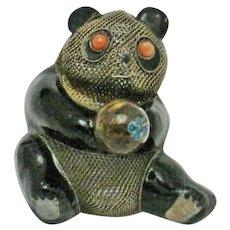 Antique SILVER Chinese Export Enamel Coral Panda Bear Brooch Pin