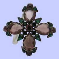 Large LES BERNARD Amethyst and Green Crystal Maltese Cross