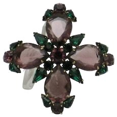 Large LES BERNARD Amethyst and Green Crystal Maltese Cross