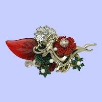 """STANLEY HAGLER N.Y.C. Christmas Reindeer Brooch Pin 2.25"""""""