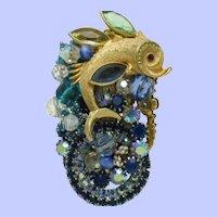 STANLEY HAGLER Brooch Figural Fish Pin  Rhinestone Crystals Seed Pearls Gorgeous