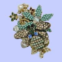 STANLEY HAGLER  Seed Pearl Rhinestone Figural Bumble Bee Pin Brooch