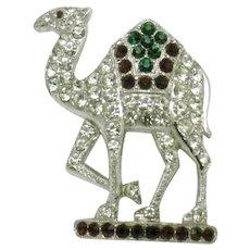 Vintage Signed ORA  Figural Rhinestone Camel Brooch
