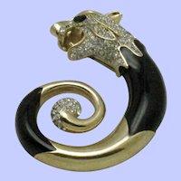 Vintage  Figural Panther Brooch Panthere Rhinestone Enamel Pin