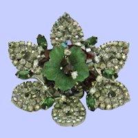 Vintage HOBE Brooch Red Green Rhinestone Flower Pin Earrings