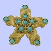 DeNICOLA Textured Under the Sea Turquoise Starfish Pin Brooch