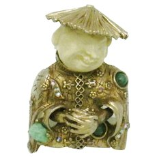 RARE Vintage HAR  Budda Smiling Chinaman Coolie Man Brooch Pin