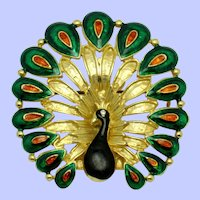 Vintage Gold Plated Enamel Figural Peacock Brooch Pin