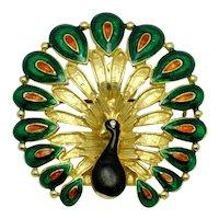 Vintage Gold Plated Enamel Figural Peacock Brooch Pin