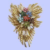 Vintage Rhinestone Gold Plated Stacked Brooch Pin