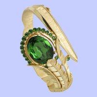 Gorgeous  CROWN TRIFARI Hinged Bracelet Crystal Rhinestone Green
