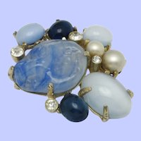 Vintage CASTLECLIFF Brooch Blue Rhinestone Art Glass & Pearl  Pin